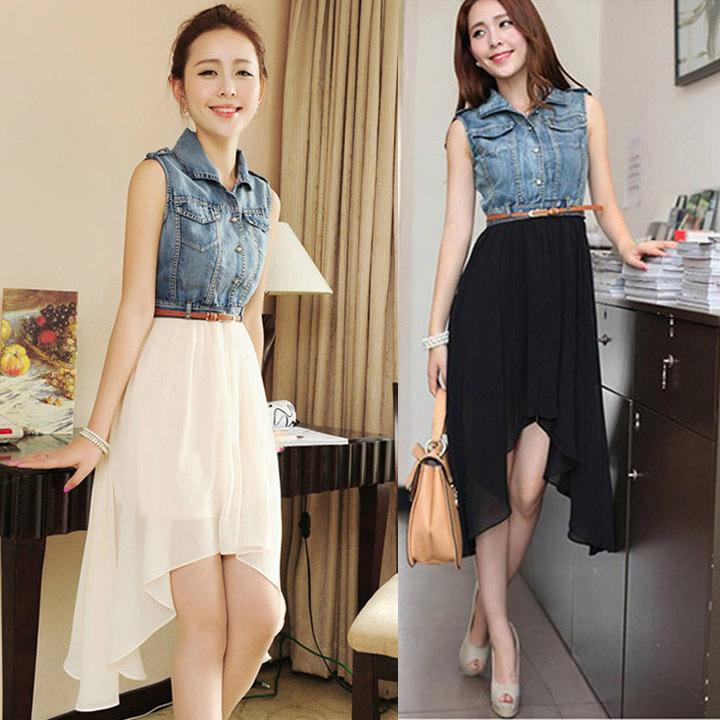 2015 summer new Korean women stitching denim dress denim chiffon dress(China (Mainland))