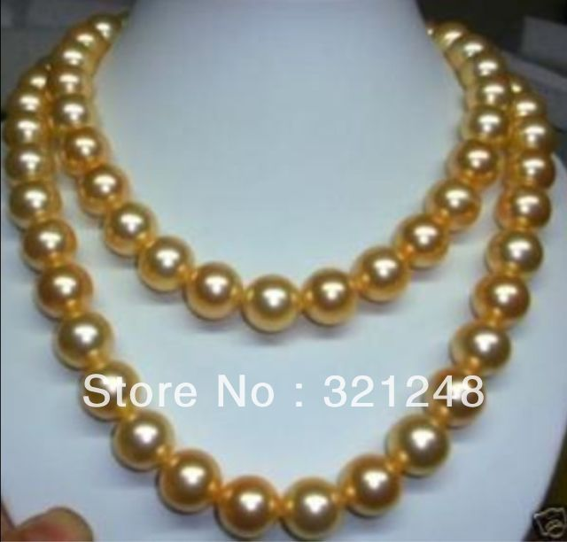 Fashion 8mm gold shell simulated-pearl long necklace 36inch round beads jewelry making long rope chain clothes gifts MY2009(China (Mainland))