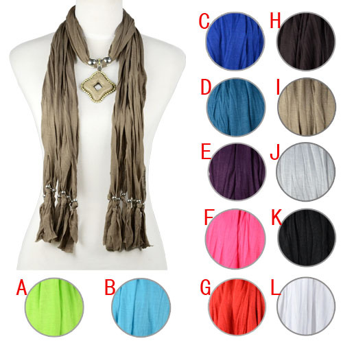 french style fashion scarf with jewelry pendant charms 12 colors, NL-1968(China (Mainland))