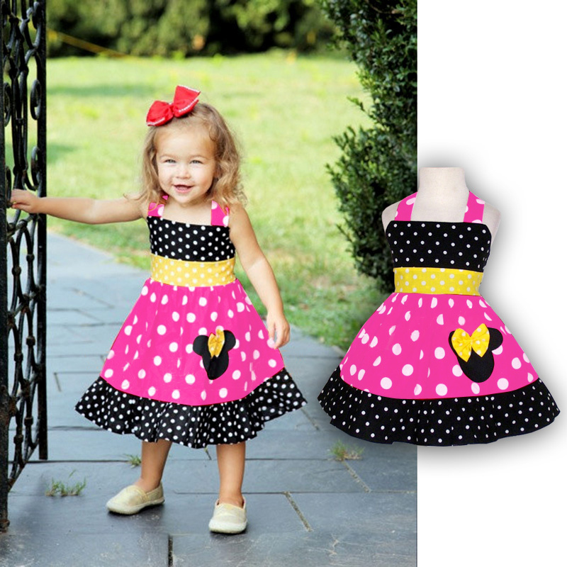 Retail 2015 new Mickey Minnie girl dress children peppa dresses summer casual party evening princess dresses for baby girls(China (Mainland))