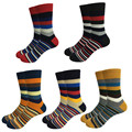 5Pair New Casual Striped Men Socks Male Colorful In Tube Pure Cotton Socks Men Thermal Warm