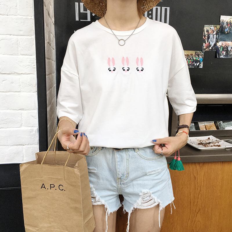 Korean Institute of wind all-match loose dress new cotton neap rabbit lovely short sleeved cotton T-shirt(China (Mainland))