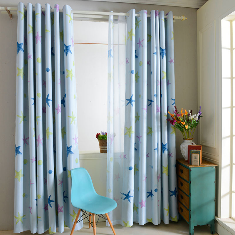Kids room printed window curtains blackout curtains window for Kid curtains window treatments