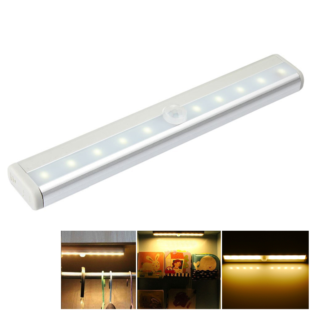 10LED Under Cabinet Light Motion Sensor Lamp Kitchen Wardrobe Cupboard Closet Energy Saving LED Strip Night Battery Lamp(China (Mainland))