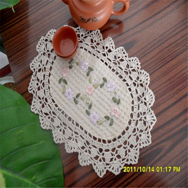 Free Shipping 2pcs/lot Pastoral Ellipse25*35cm,Round diameter23cm Handmade Crocheted beige Tablecloth Table Cover Table Runner(China (Mainland))