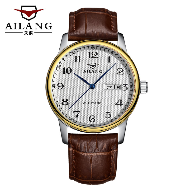 The new 2015 AILANG men automatic mechanical waterproof leather fashion leisure business calendar luxury watch brand<br><br>Aliexpress