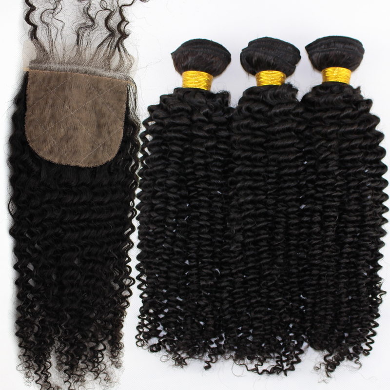 Raw Indian Curly Virgin Hair With Lace Closure 3pcs lot Indian Remy Human Hair Afro Kinky Curly Silk Base Closure With Bundles(China (Mainland))
