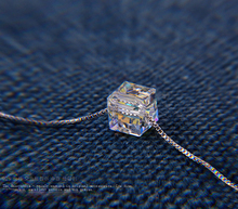 925 Sterling Silver Fashion Svarovski Elements Crystal Magic Cube Necklace Pendant Box Chain Charming Fine Jewelry