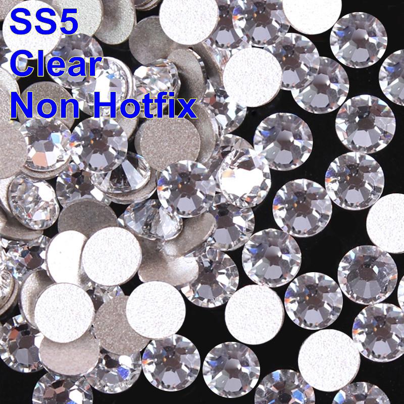 New Color Really Machine Cut Stones SS5 1440pcs Crystal Clear Flat Back Non Hotfix Rhinestones For Nail Arts(China (Mainland))