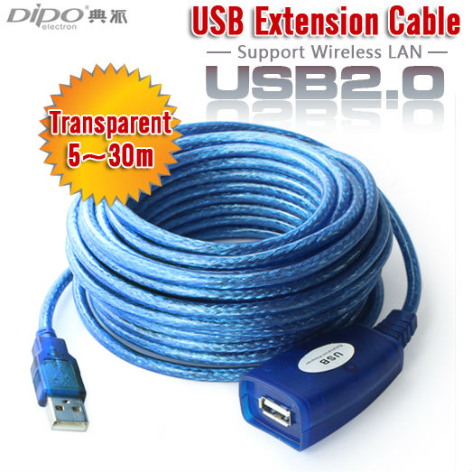 DIPO 33ft 10m active USB2.0 extension cable cord Type A male to A female with booster amplifier(China (Mainland))