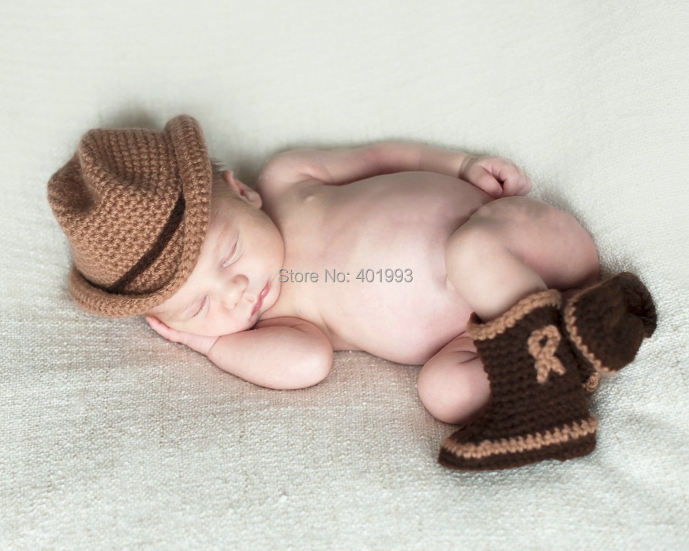 2015 New Handmade Crochet cowboy hat newborn baby boy caps snow booties Photography Props baby hat baby booties photoshoot(China (Mainland))