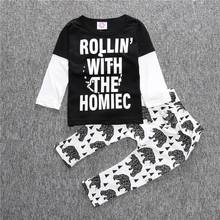 Popular Spring Autumn Baby Boys Clothes Set Long Sleeves Letter Pattern Children Clothing Suits Animal Printed Shirts+Pants