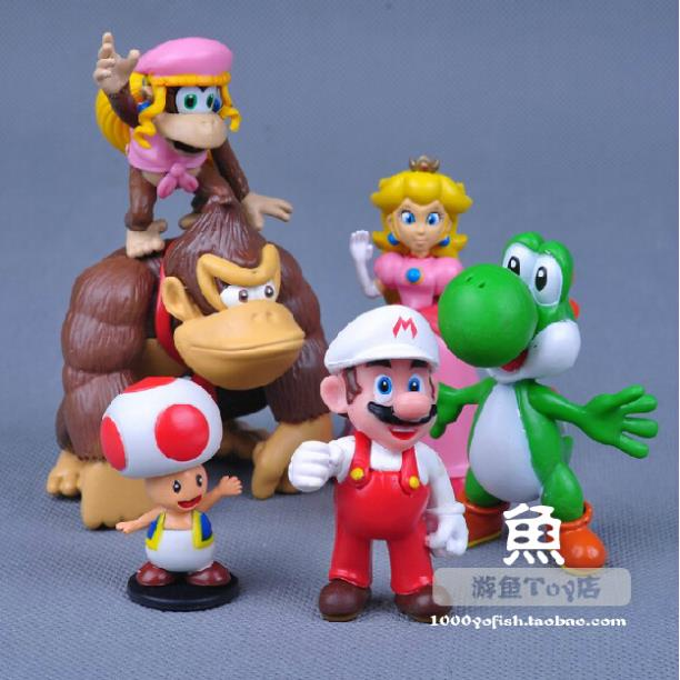 Free Shipping Super Mario Bros Figure Yoshi Peach Toad Donkey Kong PVC Action Figure Model Toys Christmas Gifts 6pcs/set SMFG228(China (Mainland))
