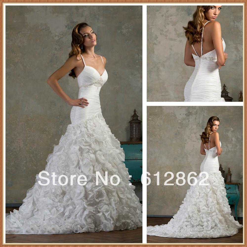 Low Back Mermaid Wedding Dress : Spaghetti strap low back pleated taffeta sexy mermaid wedding dresses
