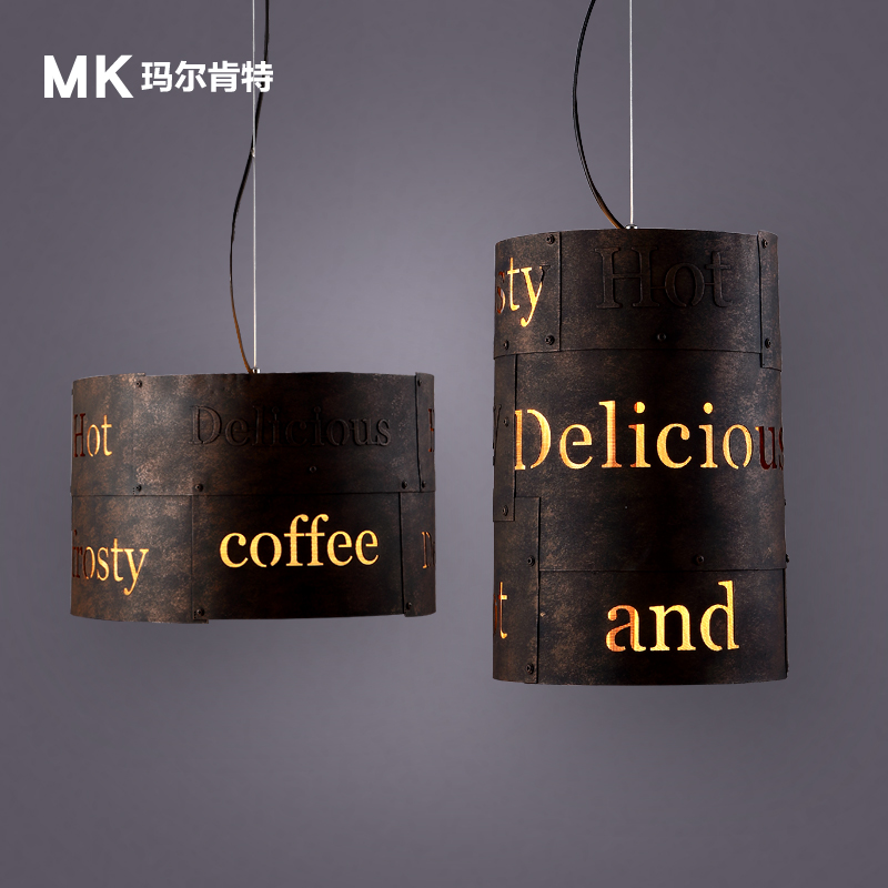 Do the old iron industrial wind retro round hollow English simple American style coffee bar dining room Pendant Lights lightin(China (Mainland))