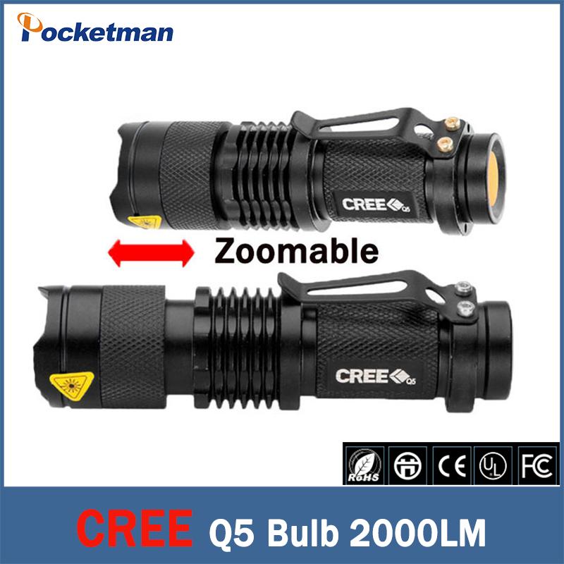 Free shipping 2000 Lumen Zoomable CREE XM-L Q5 LED Flashlight Torch Zoom Lamp Light linternas Black zk95(China (Mainland))