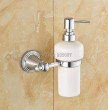 Chrome Finish Bath Ceramic Bottle Wall Mounted Soap Dispenser(China (Mainland))