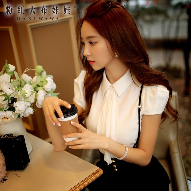 Short sleeved shirt girl summer pink doll 2016 summer new style bubble sleeve slim white shirt woman