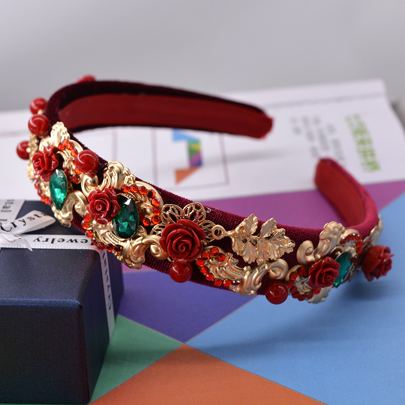 Fashion brand design baroque rose flower hair bands red velvet wedding headband hair accessories jewelry Gold Leaves crown Tiara(China (Mainland))