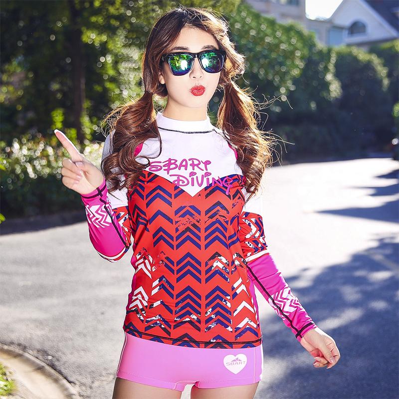 2016 SBART Women Rashguard Swimsuit Tops Wetsuit Korea Print  Clothing Long Sleeve Female Tankinis Surfing Beach T-Shirts <br><br>Aliexpress
