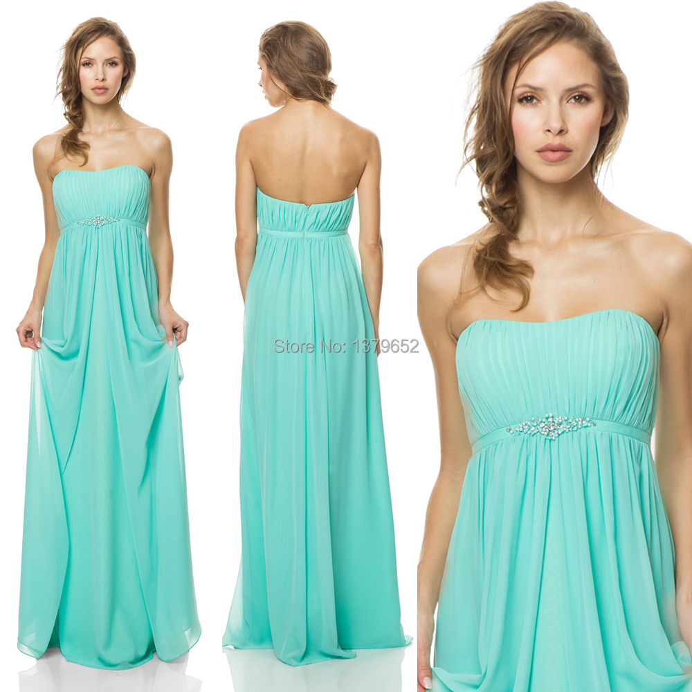 2015 new arrival robe demoiselle d 39 honneur strapless turquoise long bridesmaid dress chiffon. Black Bedroom Furniture Sets. Home Design Ideas