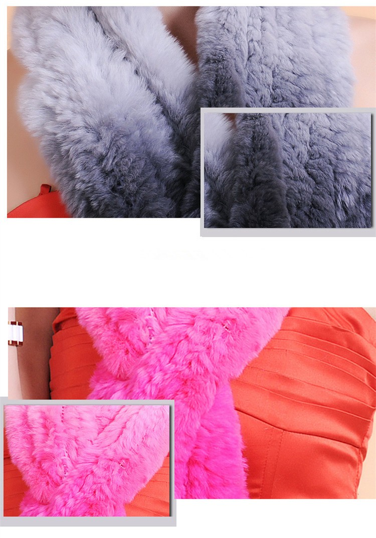 High quality Gradient Soft Fur Scarf Wraps Women Winter Warm 100% Real Rex Rabbit Fur Knitted Scarf
