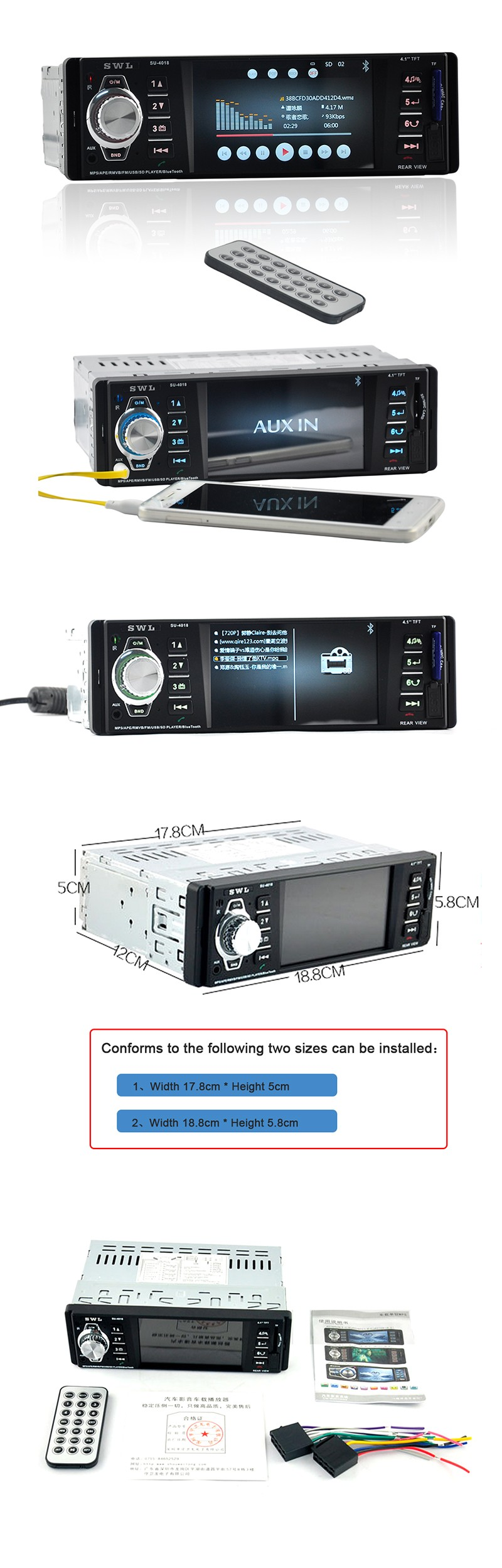 "12V Car Radio MP5 Player 1Din 4.1"" TFT HD Digital Stereo FM Radios Video USB SD Bluetooth Support Rear View Camera In-Dash  4018"
