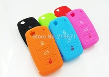 NEW Hot silicone car key cover for VW Volkswagen Passat Polo Golf Touran Bora SEAT Ibiza Leon SKODA Octavia Fabia 3 Buttons