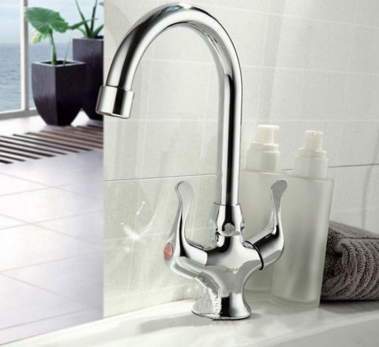 Kitchen Sink Faucet Mixer Tap Swivel Spout Brass Chrome Dual Handle Deck Mounted<br><br>Aliexpress