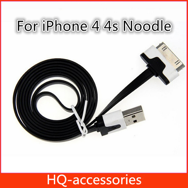 200Pcs/Lot DHL Free 1M Flat Noodle For iPhone 4 4s Ipad 2 3 USB Charger Data Sync Cable 30Pin Colorful Design Charging Cables(China (Mainland))