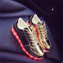 גודל 27-42 ילדי USB זוהר סניקרס בנות בני נשים נעליים עם אור Led נעלי זוהר סניקרס Krasovki עם תאורה אחורית(China)