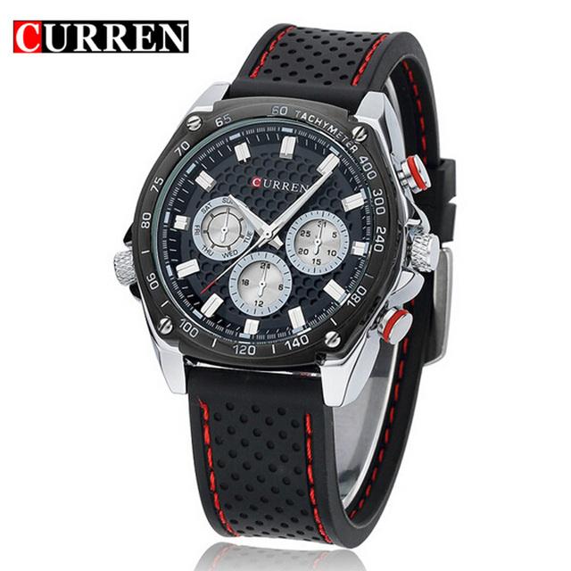 2016 марка Curren армейцы кварцевые часы мода бизнес свободного покроя наручные часы черный серебряный силиконовые Relogio Masculino продажа
