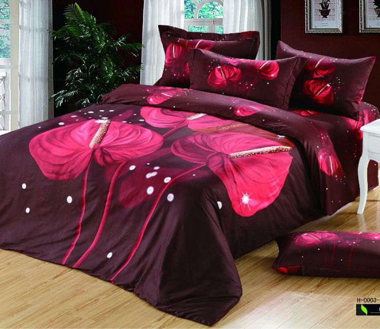 purple floral callas bedding set quilt duvet cover cotton bed sheets queen size full double. Black Bedroom Furniture Sets. Home Design Ideas