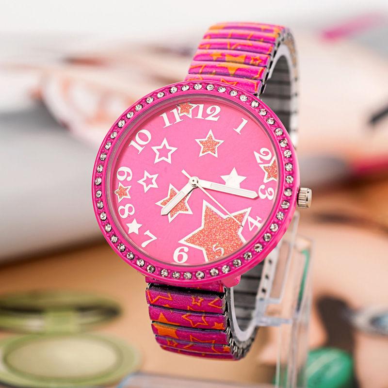 New Arrive Elastic Alloy Band Watch Women Fashion Rhinestone Star Print Watches(China (Mainland))