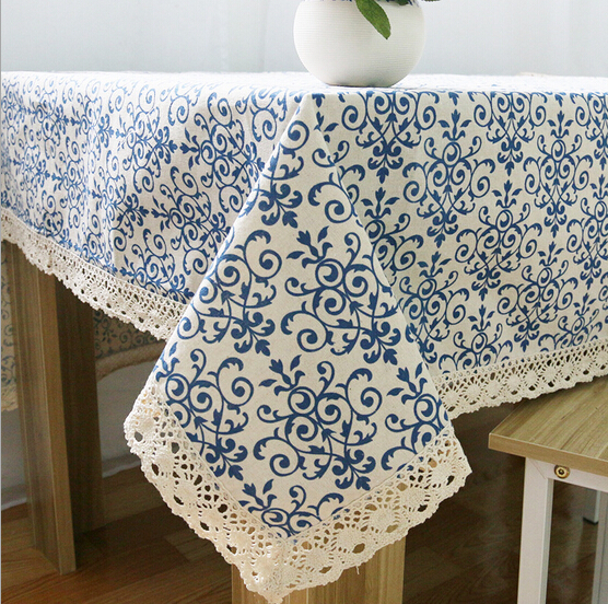 Home hotel dining/wedding Linen Blue Floral Print Table Cloth Cotton Rectangular Lace Tablecloth Table covers Long Table Runners(China (Mainland))