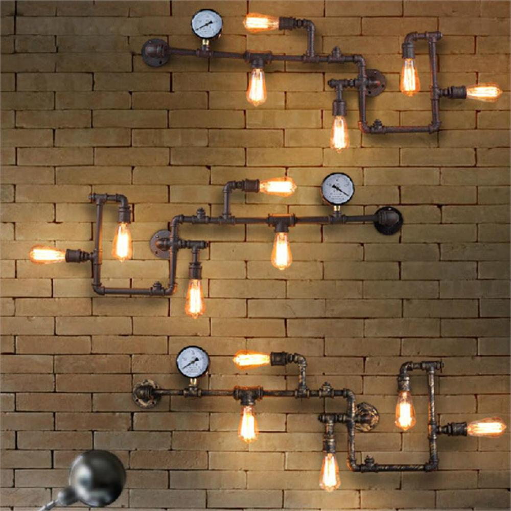 Bedroom wall light fixtures - Iron Pipe Wall Lamps Ancient Water Pipe American Vintage Industrial Light Fixtures Bedroom Home Lighting Decor