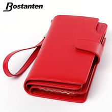Bostanten Real Genuine Leather Women Wallets Brand Design High Quality 2016 Cell phone Card Holder Long Lady Wallet Purse Clutch(China (Mainland))