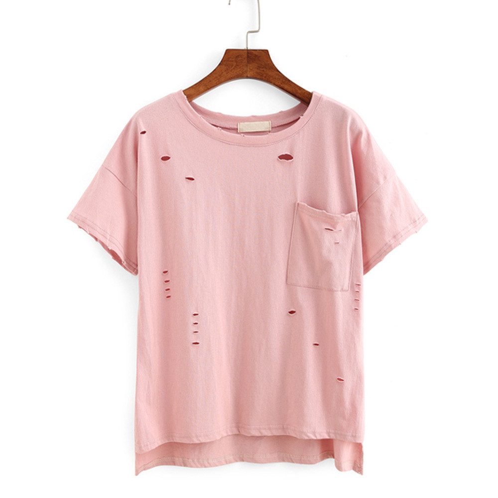 Online Get Cheap Pink T Shirt with Holes -Aliexpress.com | Alibaba ...