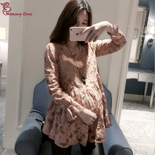 Mommy Zone Maternity Plus Size Spring Autumn Long Sleeve Lace T Shirts Pregnant Woman Ruffle Lace Basic Tee Shirt  Top Clothing(China (Mainland))