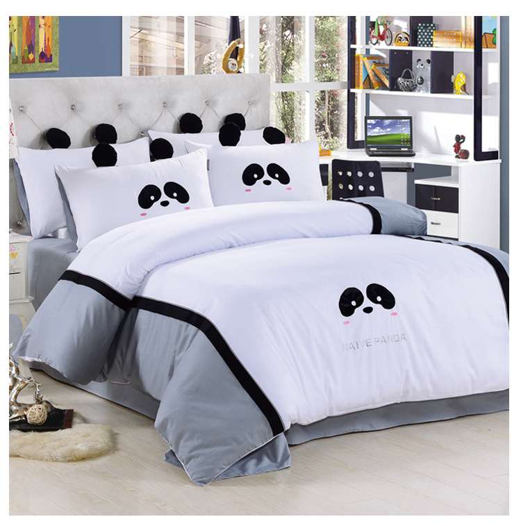 Black And White Panda Bedding Set Queen Size Doona Duvet