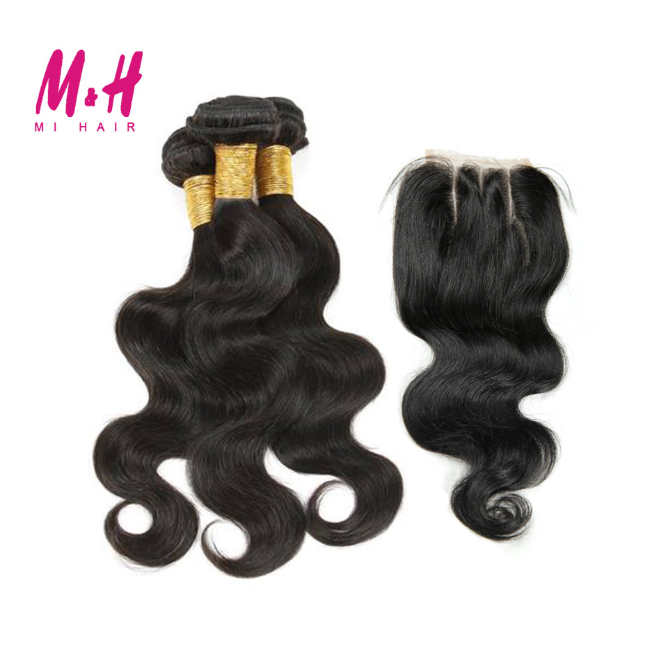 Здесь можно купить  King Hair Peruvian Body Wave 3 Bundles With Closure 6A Peruvian Virgin Hair With 3 Part Closure Human Hair Bundles With Closure  Волосы и аксессуары