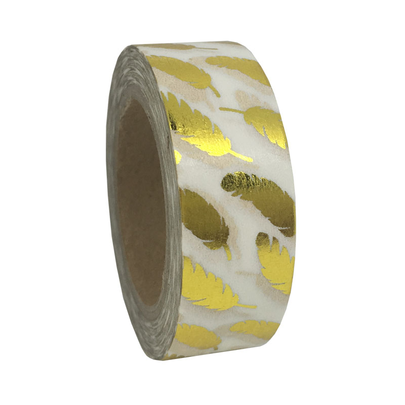Golden Feather 10M*1.5CM Gold Foil Printing For Christmas And Halloween Set DIY Sticky Deco Masking Japanese Washi Paper Tape(China (Mainland))