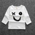 2016 Fashion Baby Boys Girls 1 4Y Letter Facial Expression T Shirt Boys Tops Kids Long