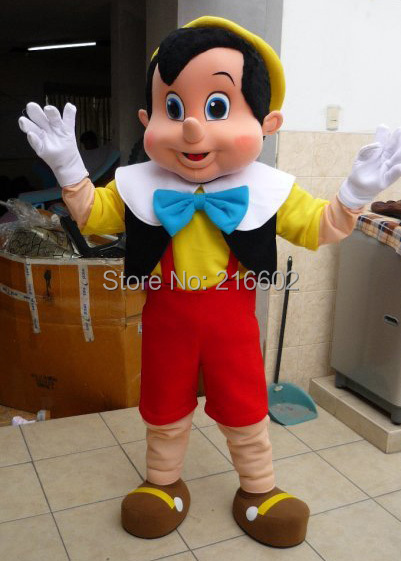 Pinocchio Mascot Costume, Adult Halloween Fancy Dress Cartoon Character Outfit Suit, - mascot trade factory store