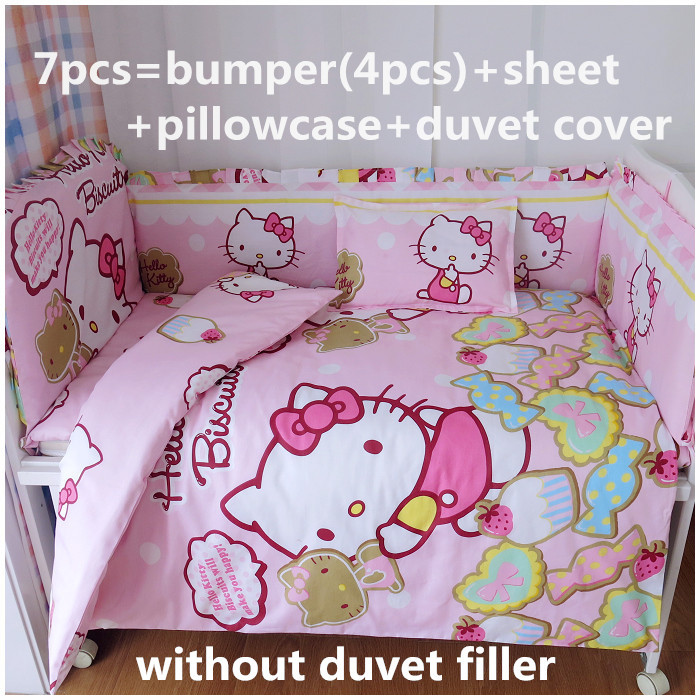 Promotion! 6/7PCS Hello Kitty Baby Bedding ,Duvet Cover,Crib Liner Bumpers Bed Around Baby Cot Sets,120*60/120*70cm(China (Mainland))