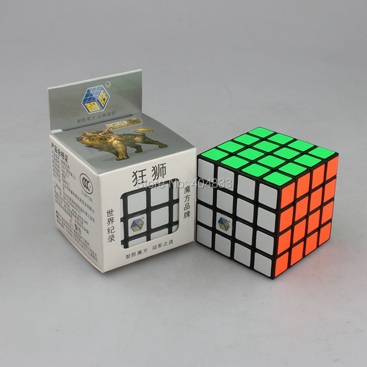 Yuxin 4x4 Cube Crazy Lion Black/White cubo Magico KuangShi Speed Cube Educational Toys for Children Free Shipping Drop Shipping(China (Mainland))