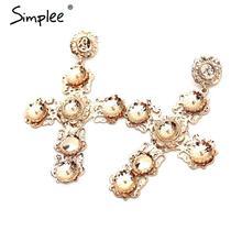 Simplee Ahueca Hacia fuera la gota de las mujeres accesorios de vestir collar llamativo Vintage 2017 elegante chapado en oro cruz accesorios(China (Mainland))