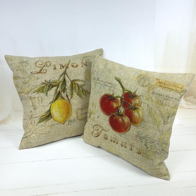 Hot Sale Thick and Thin Cotton Linen Decor Pillow New Home Fashion Gift 45cm Retro Greenstuff Flowers Boho Office Sofa Cushion