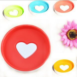 new bathroom products candy color plastic soap box double layer circle heart shaped soap dishes free shipping(China (Mainland))