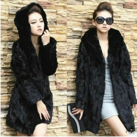 Black Fur Coat With Hood